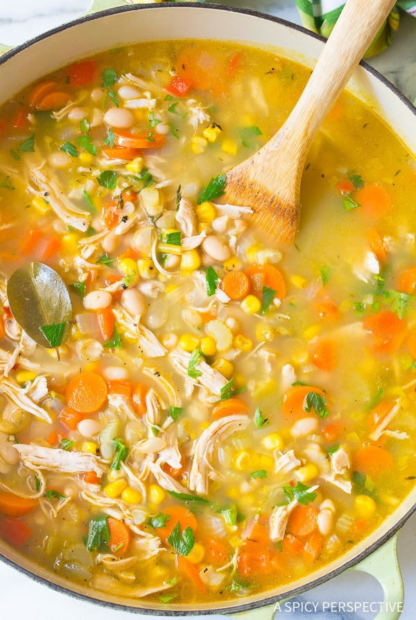 Healthy Chicken Soup  Healthy Chicken White Bean Soup A Spicy Perspective