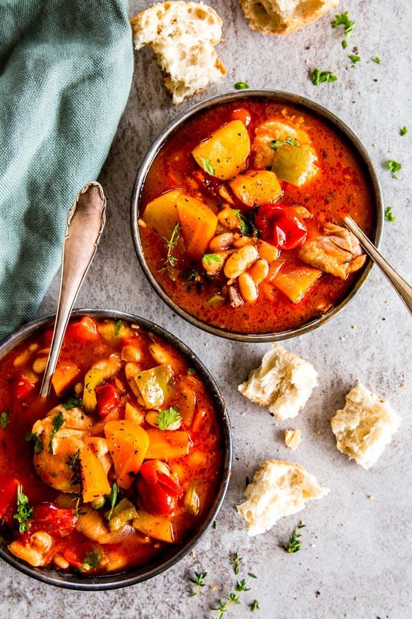 Healthy Chicken Stew Crock Pot  Tuscan White Bean Crock Pot Chicken Stew