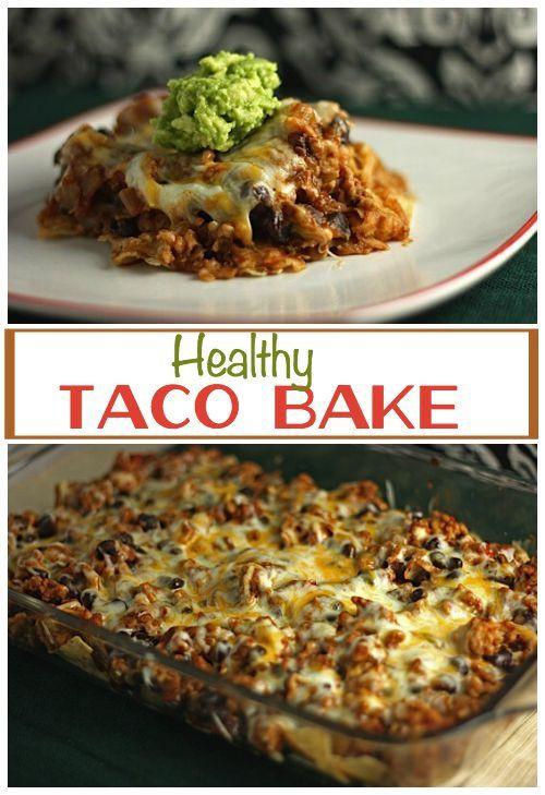 Healthy Chicken Taco Casserole  chicken taco casserole with corn tortillas