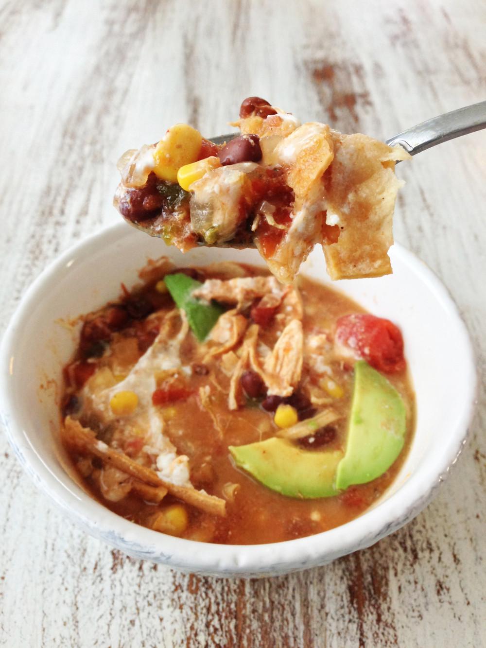 Healthy Chicken Tortilla Soup Crock Pot  Healthified Crock Pot Chicken Tortilla Soup — The Skinny Fork