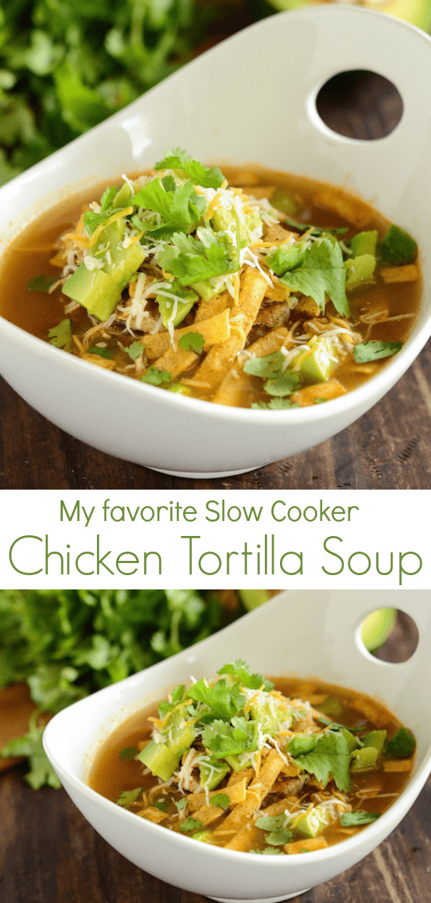 Healthy Chicken Tortilla Soup Slow Cooker  Slow Cooker Chicken Tortilla Soup