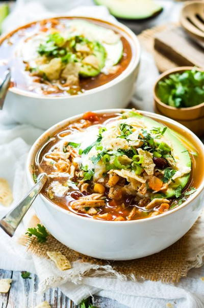 Healthy Chicken Tortilla Soup Slow Cooker  Healthy Slow Cooker Chicken Tortilla Soup