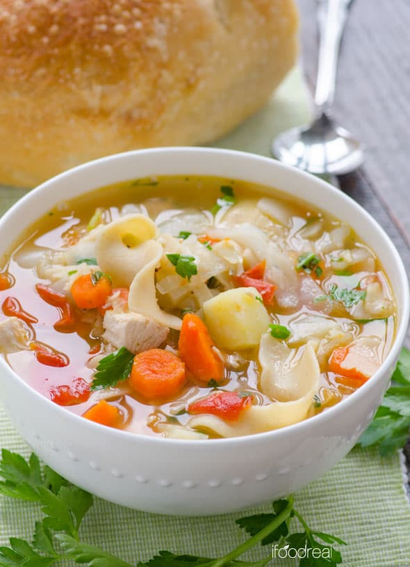 Healthy Chicken Vegetable Soup  Chicken Noodle Ve able Soup iFOODreal Healthy Family
