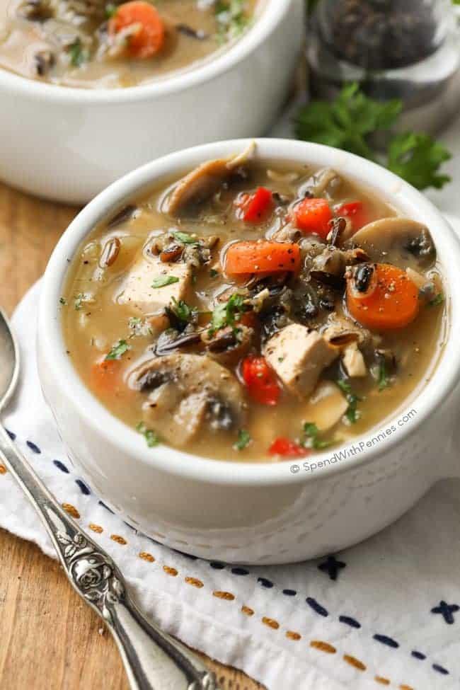 Healthy Chicken Wild Rice Soup  Chicken Wild Rice Soup no cream Spend With Pennies