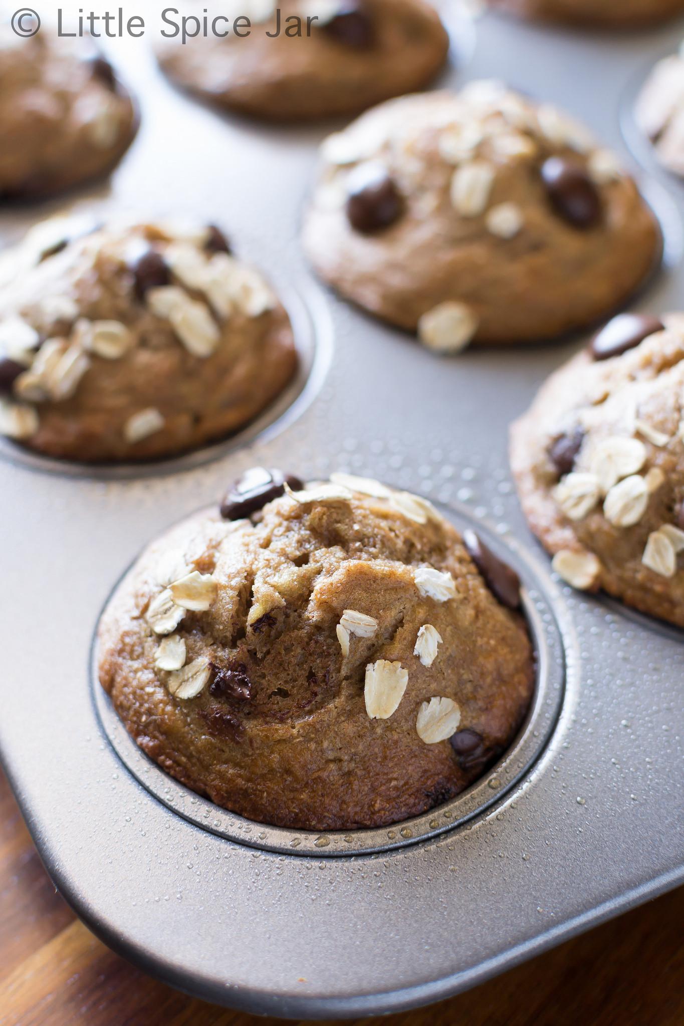 Healthy Chocolate Banana Muffins  HEALTHY CHOCOLATE CHIP BANANA MUFFINS