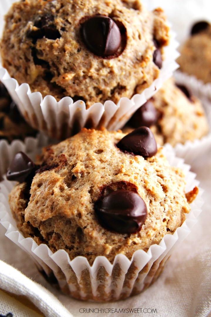 Healthy Chocolate Banana Muffins  Healthy Banana Chocolate Chip Muffins Crunchy Creamy Sweet