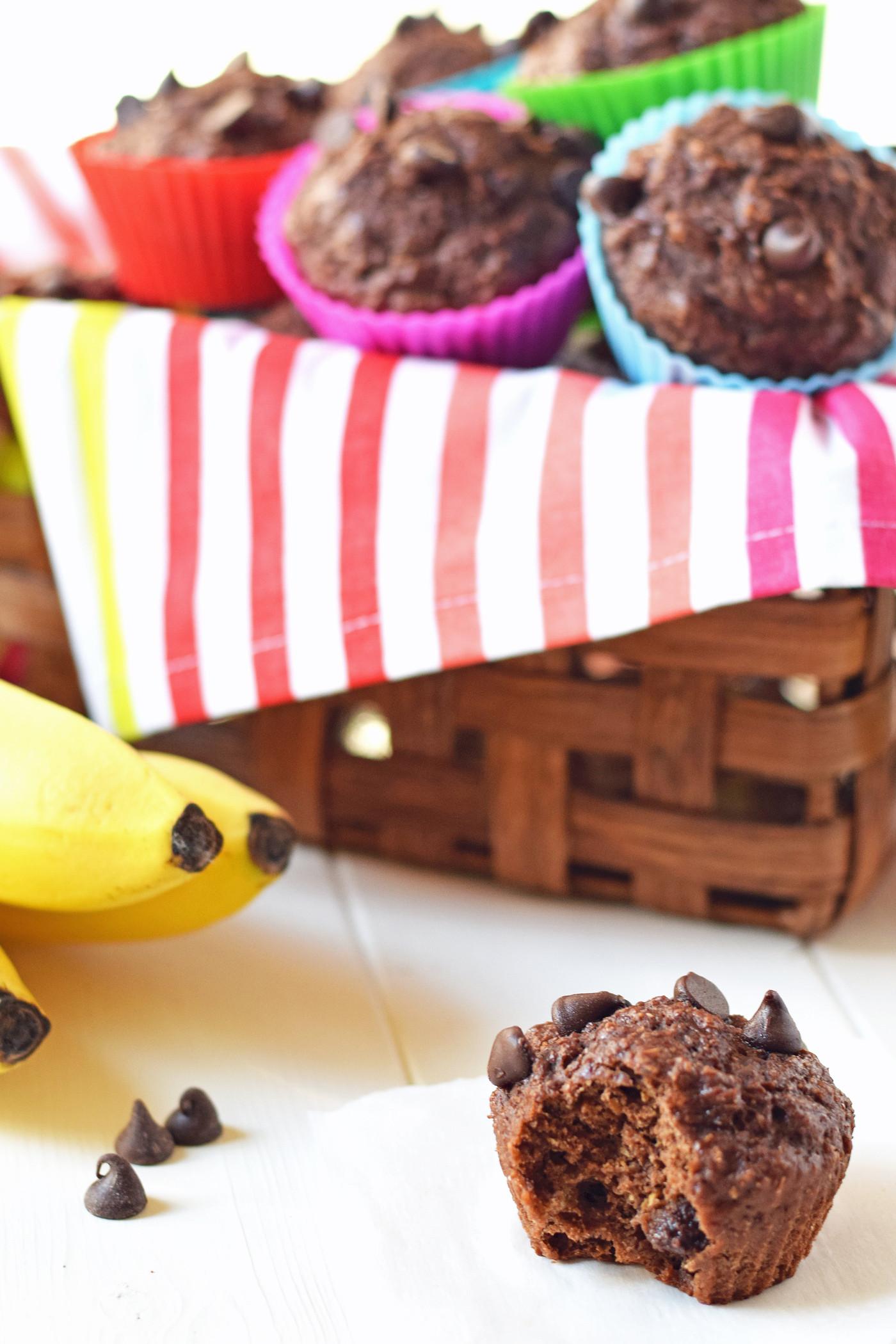 Healthy Chocolate Banana Muffins  Healthy Chocolate Banana Muffins