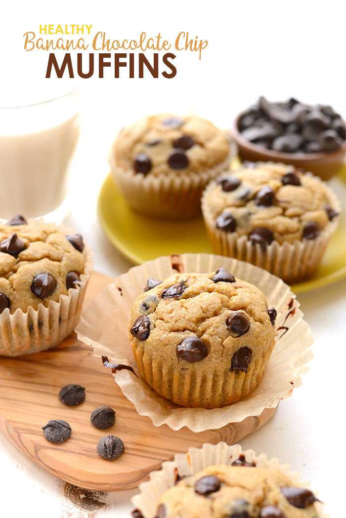 Healthy Chocolate Banana Muffins  Healthy Banana Chocolate Chip Muffins Fit Foo Finds