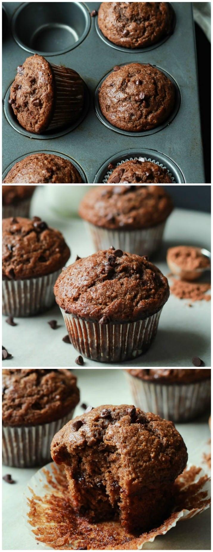 Healthy Chocolate Banana Muffins  Skinny Double Chocolate Banana Muffins