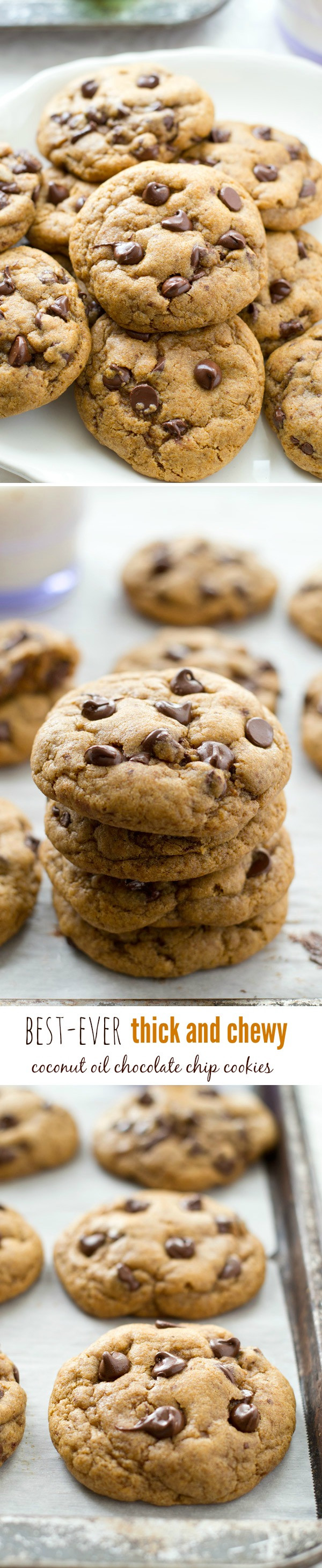 Healthy Chocolate Chip Cookies With Coconut Oil  Thick and Chewy Coconut Oil Chocolate Chip Cookies