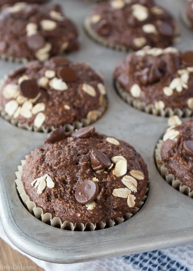 Healthy Chocolate Muffins Oatmeal  Healthy Chocolate Oatmeal Muffins No Flour No Sugar No