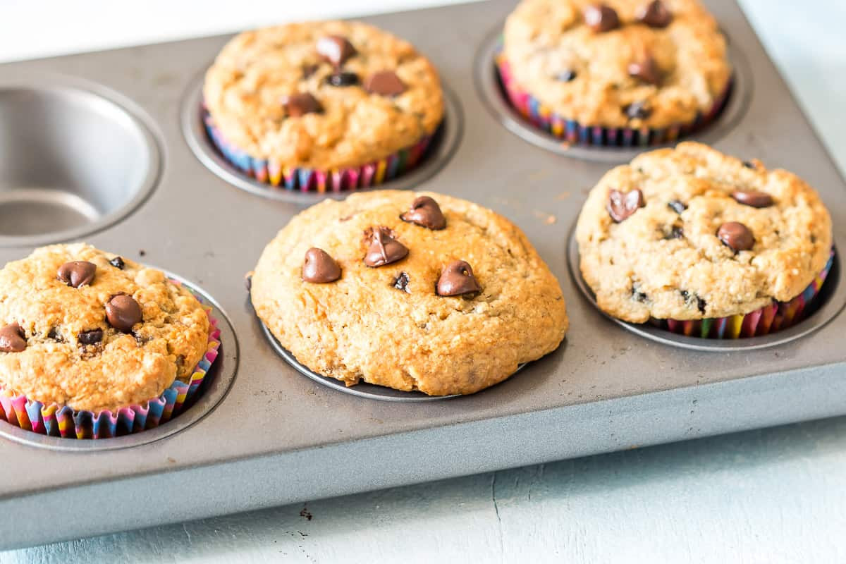 Healthy Chocolate Muffins Oatmeal  Healthy Oatmeal Banana Chocolate Chip Muffins