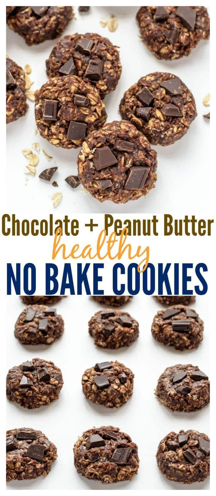 Healthy Chocolate Peanut Butter Cookies  Healthy No Bake Cookies with Chocolate and Peanut Butter