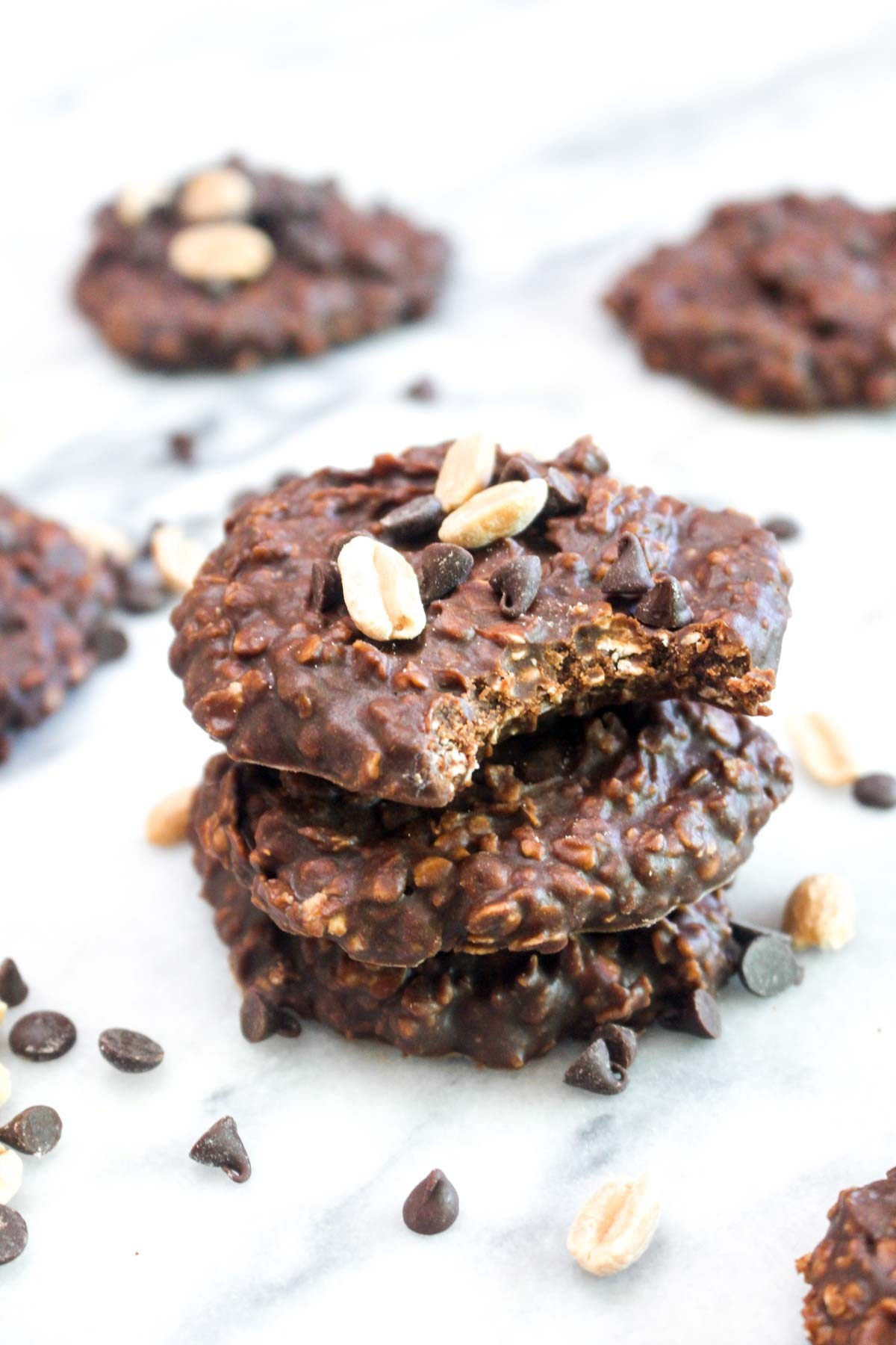 Healthy Chocolate Peanut Butter Cookies  Healthy Chocolate Peanut Butter No Bake Cookies Catching