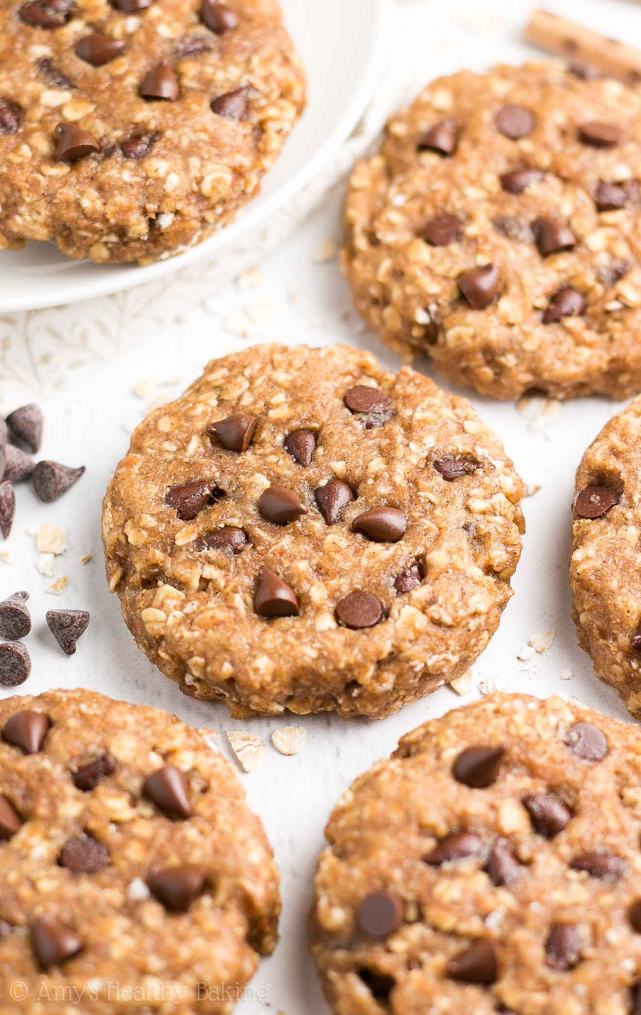 Healthy Chocolate Peanut Butter Cookies  Healthy Chocolate Chip Peanut Butter Oatmeal Breakfast