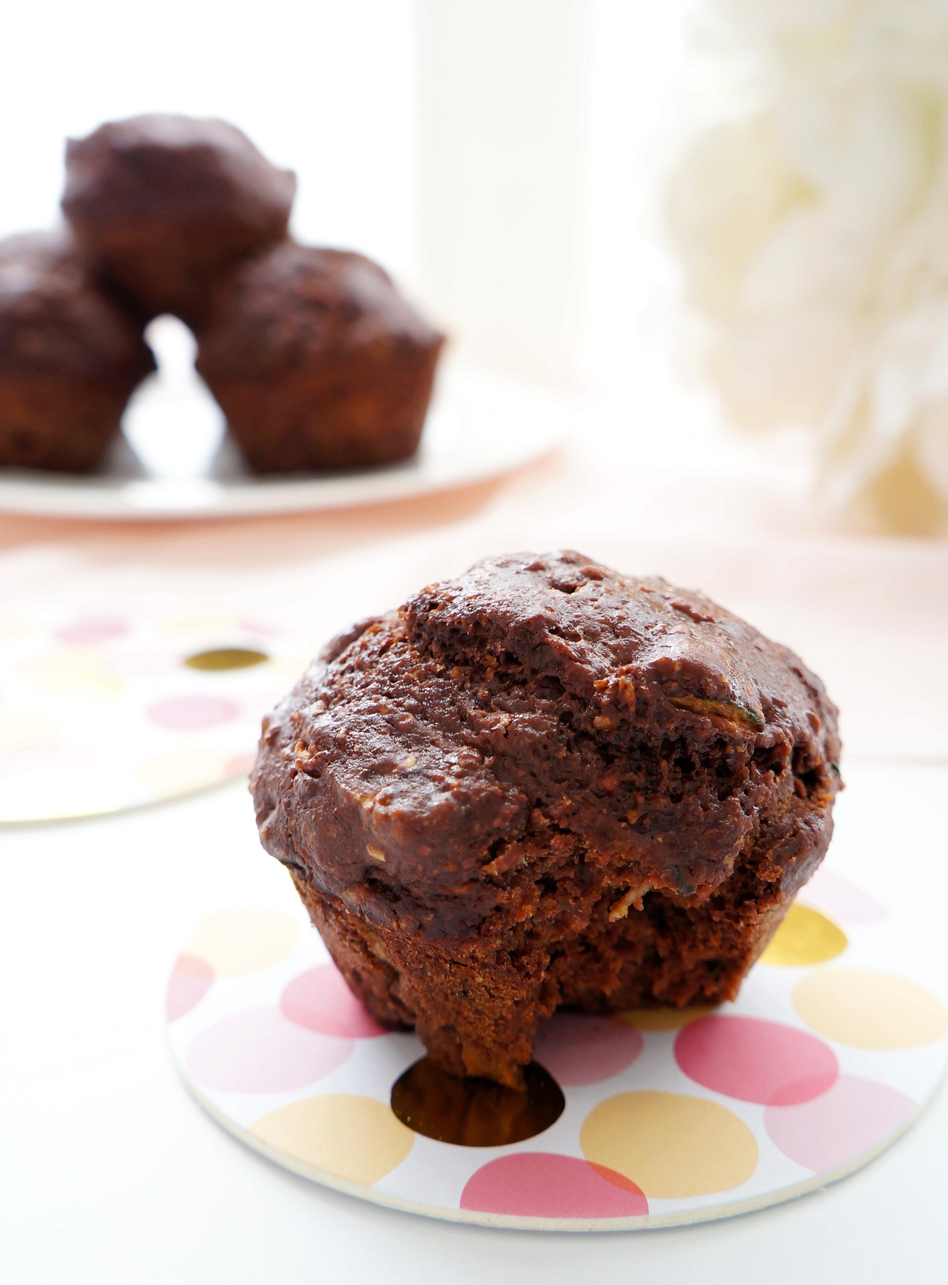 Healthy Chocolate Zucchini Muffins  Haute & Healthy Living Chocolate Zucchini Muffins