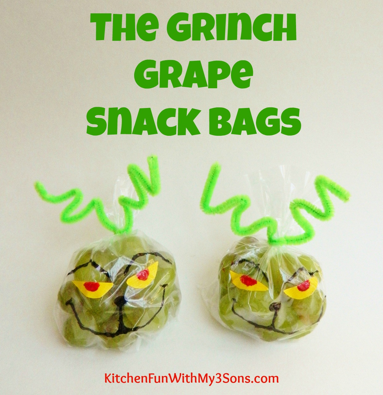 Healthy Christmas Snacks For School Parties  The Grinch Grape Snack Bags for Christmas Class Parties at