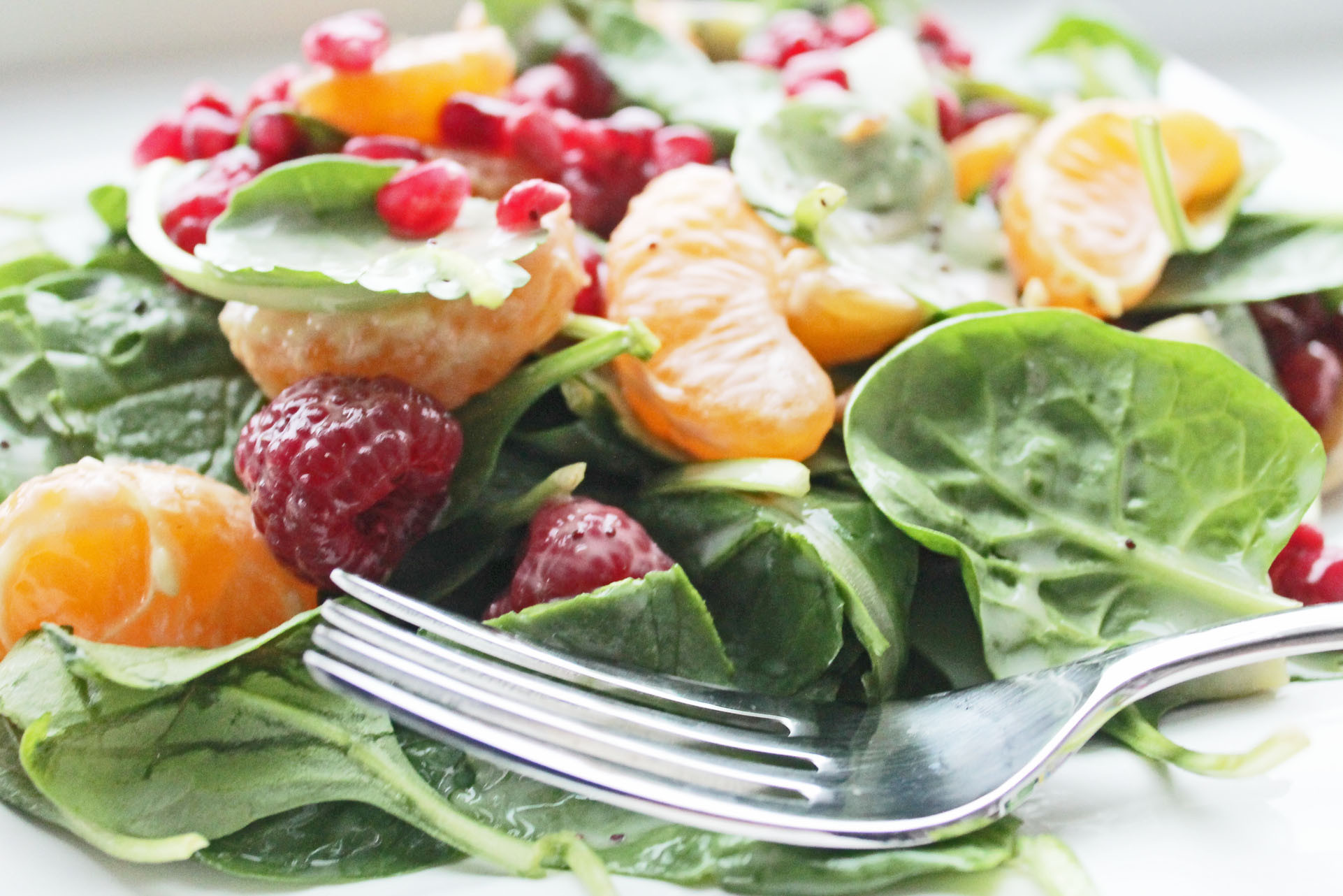 Healthy Clean Eating Recipes  Healthy Salad Recipe with Fruits and Spinach