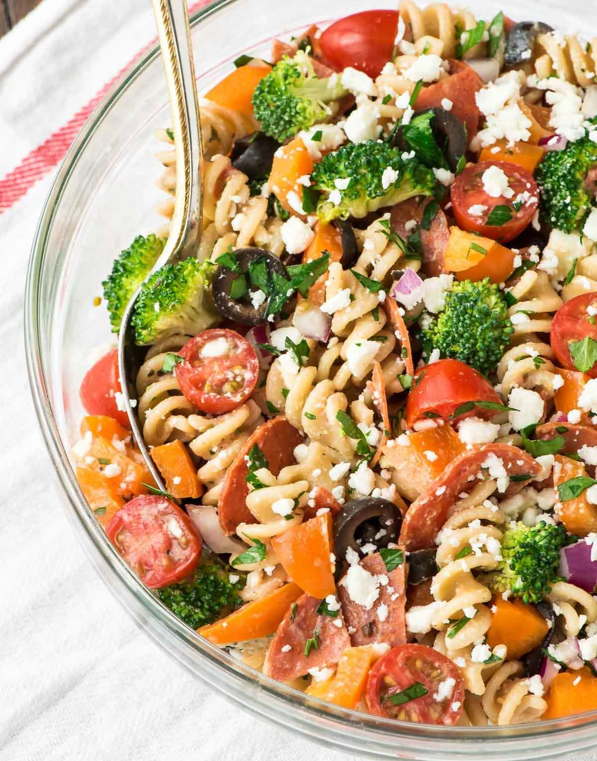 Healthy Cold Pasta Salad  Asian Noodle Salad with Creamy Peanut Dressing