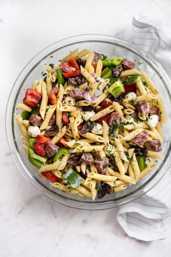 Healthy Cold Pasta Salad  Easy Italian Pasta Salad Recipe • Salt & Lavender