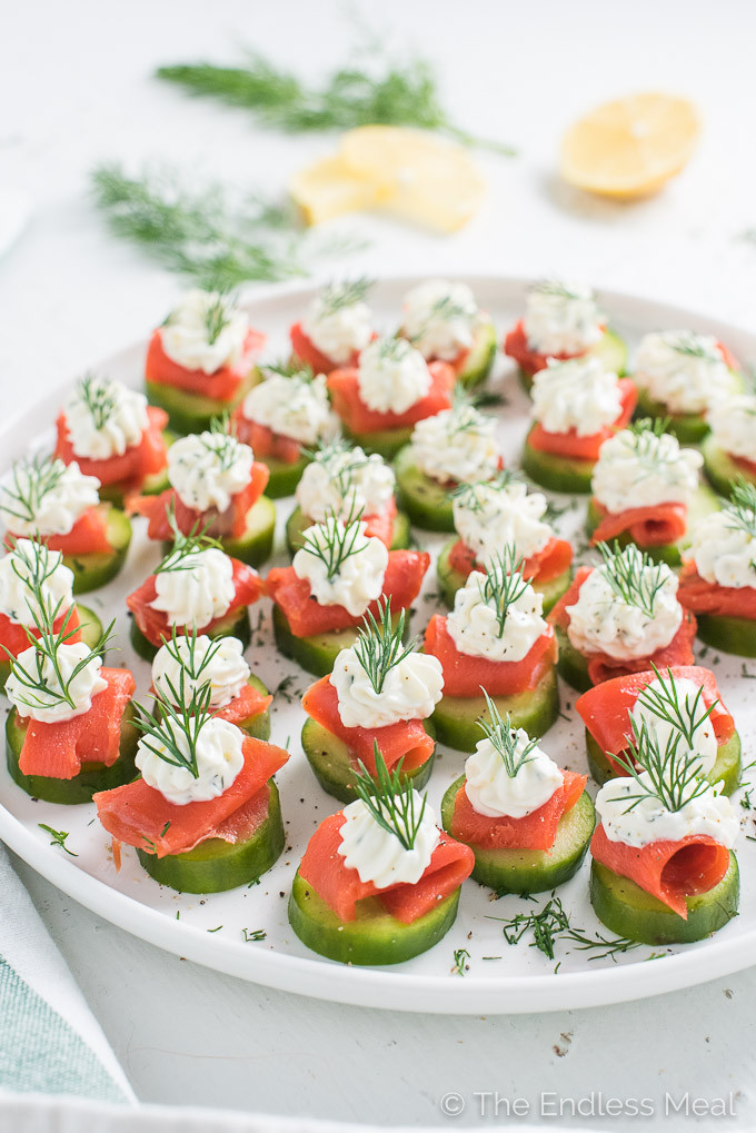 Healthy Cold Snacks  Smoked Salmon Appetizer Bites w Lemon Dill Cream Cheese