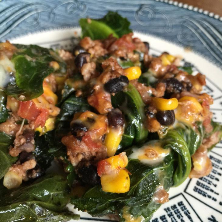 "Healthy Collard Greens Recipe  RECIPE Pork Stuffed Collard Green ""Enchiladas"""