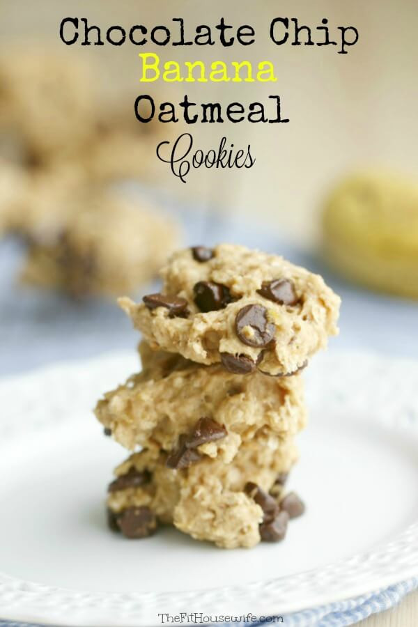 Healthy Cookies No Sugar  Chocolate Chip Banana Oatmeal Cookies A healthy recipe