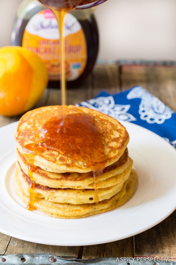 Healthy Cornmeal Pancakes  Cornmeal Pancakes with Orange Syrup A Spicy Perspective