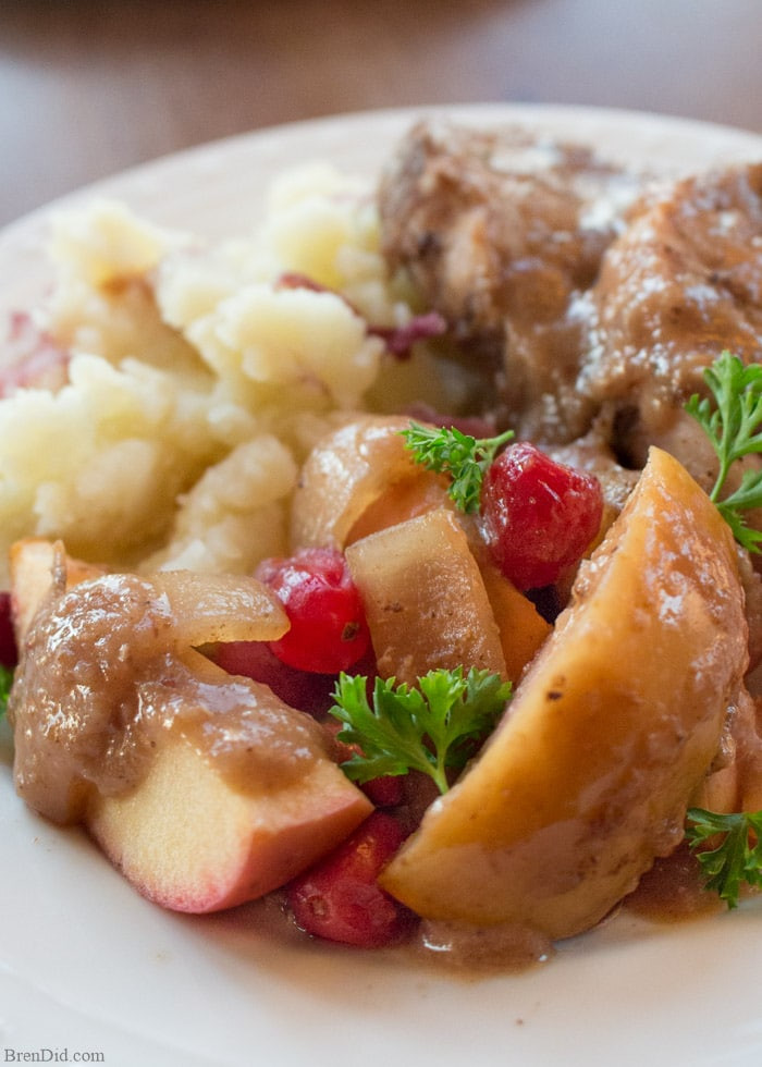 Healthy Crock Pot Pork Chops  Crock Pot Pork Chops with Cranberries and Apples Bren Did