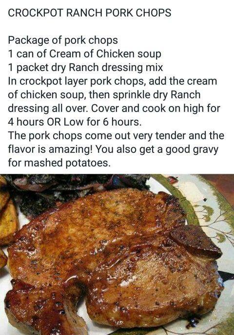 Healthy Crock Pot Pork Chops  Crock pot ranch pork chops Crockpot Pinterest