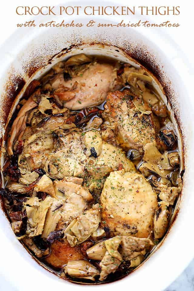 Healthy Crockpot Chicken Thighs  Crock Pot Chicken Thighs with Artichokes and Sun Dried