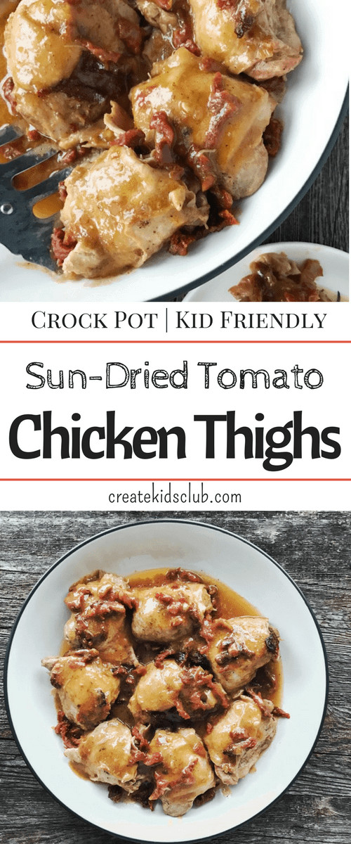 Healthy Crockpot Chicken Thighs  chicken and sun dried tomatoes in slow cooker