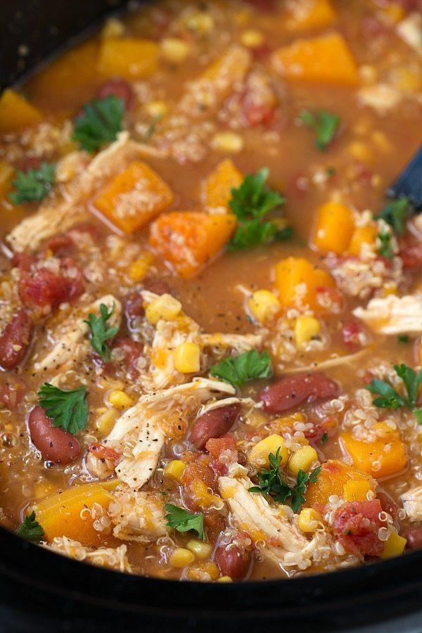 Healthy Crockpot Soups  Crockpot Butternut Squash Chicken and Quinoa Soup