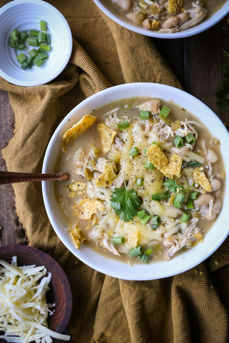 Healthy Crockpot White Chicken Chili  Crock Pot White Chicken Chili The Roasted Root