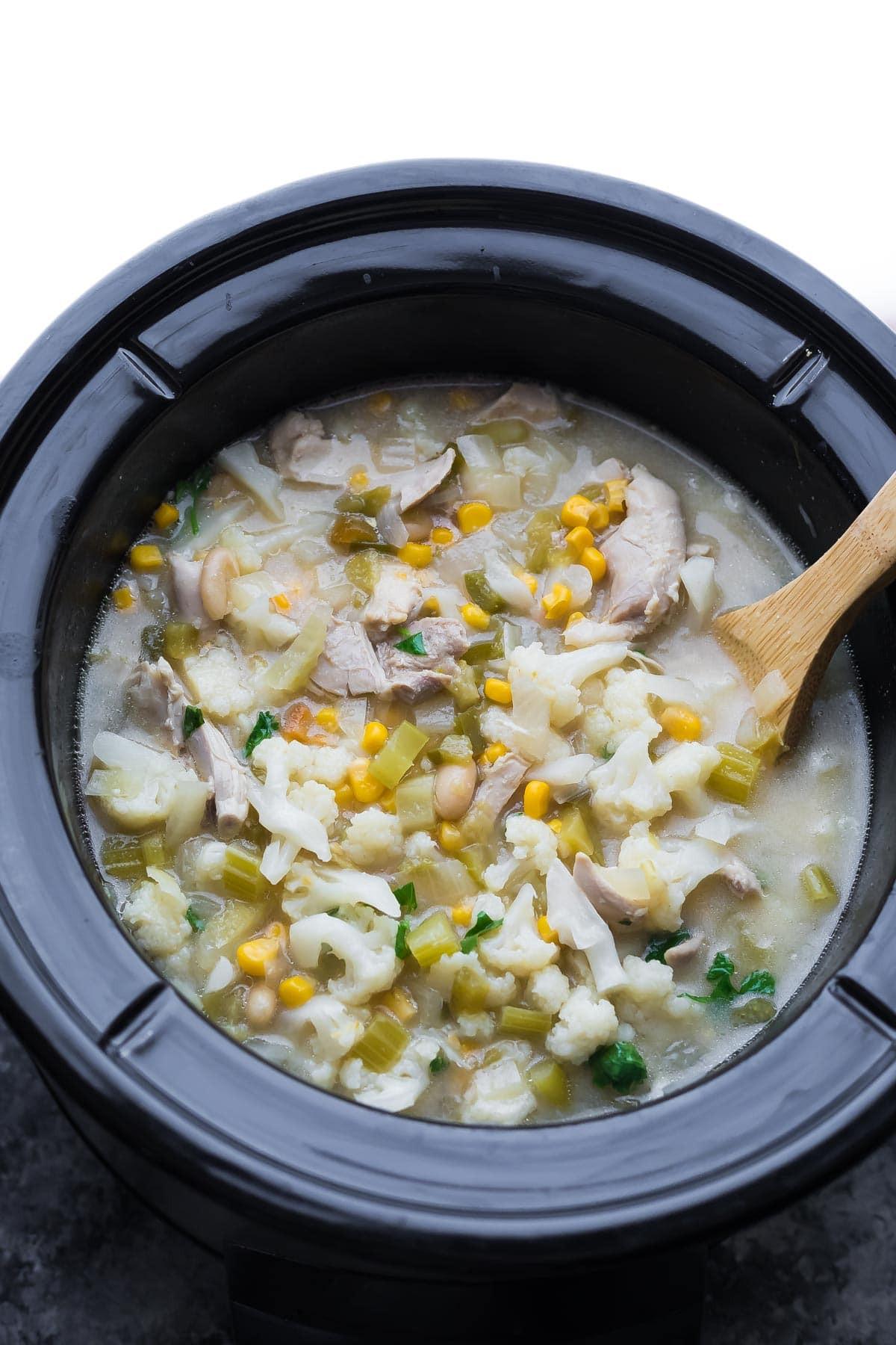 Healthy Crockpot White Chicken Chili  Healthy Slow Cooker White Chicken Chili Freezer to Crock