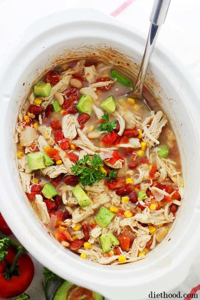 Healthy Crockpot White Chicken Chili  Crock Pot White Chicken Chili Recipe