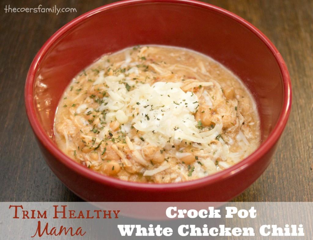 Healthy Crockpot White Chicken Chili  Trim Healthy Mama style Crock Pot White Chicken Chili