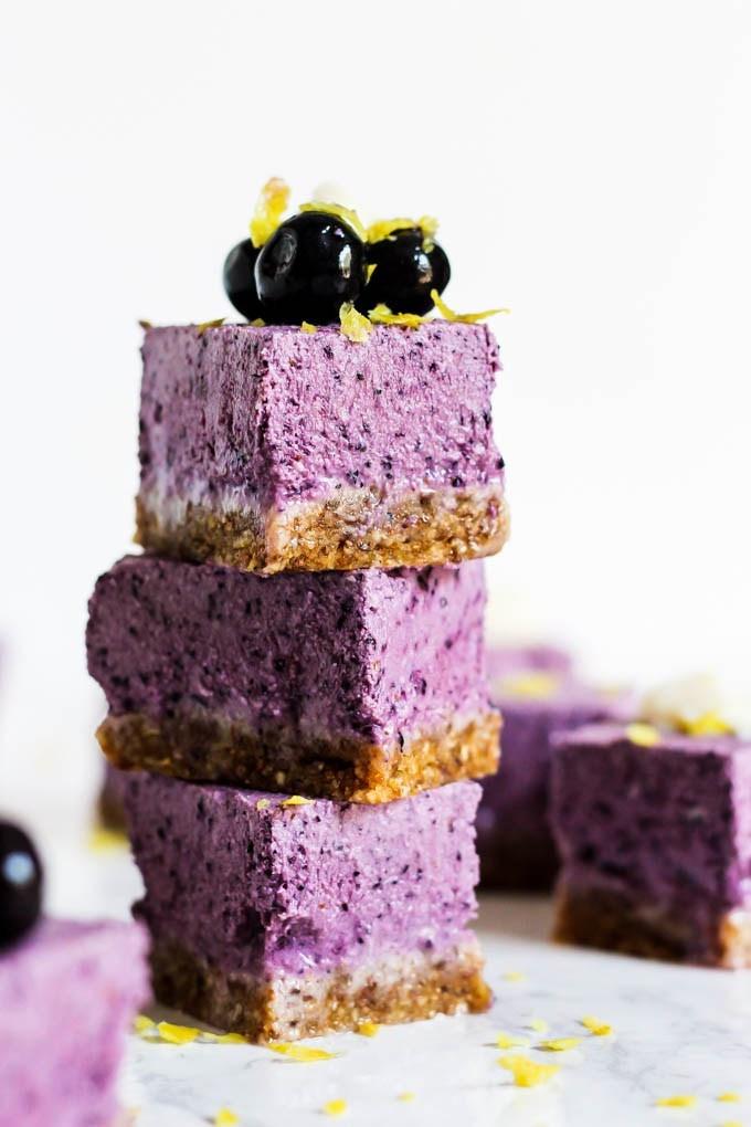Healthy Dairy Free Desserts  No Bake Lemon Blueberry Cheesecake Bars vegan & gluten