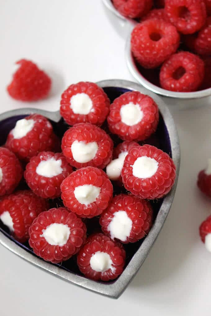 Healthy Delicious Snacks  Yogurt filled raspberries a delicious and healthy snack