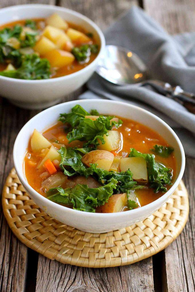 Healthy Delicious Soups  Vegan Potato Soup Recipe with Beans & Kale Cookin Canuck