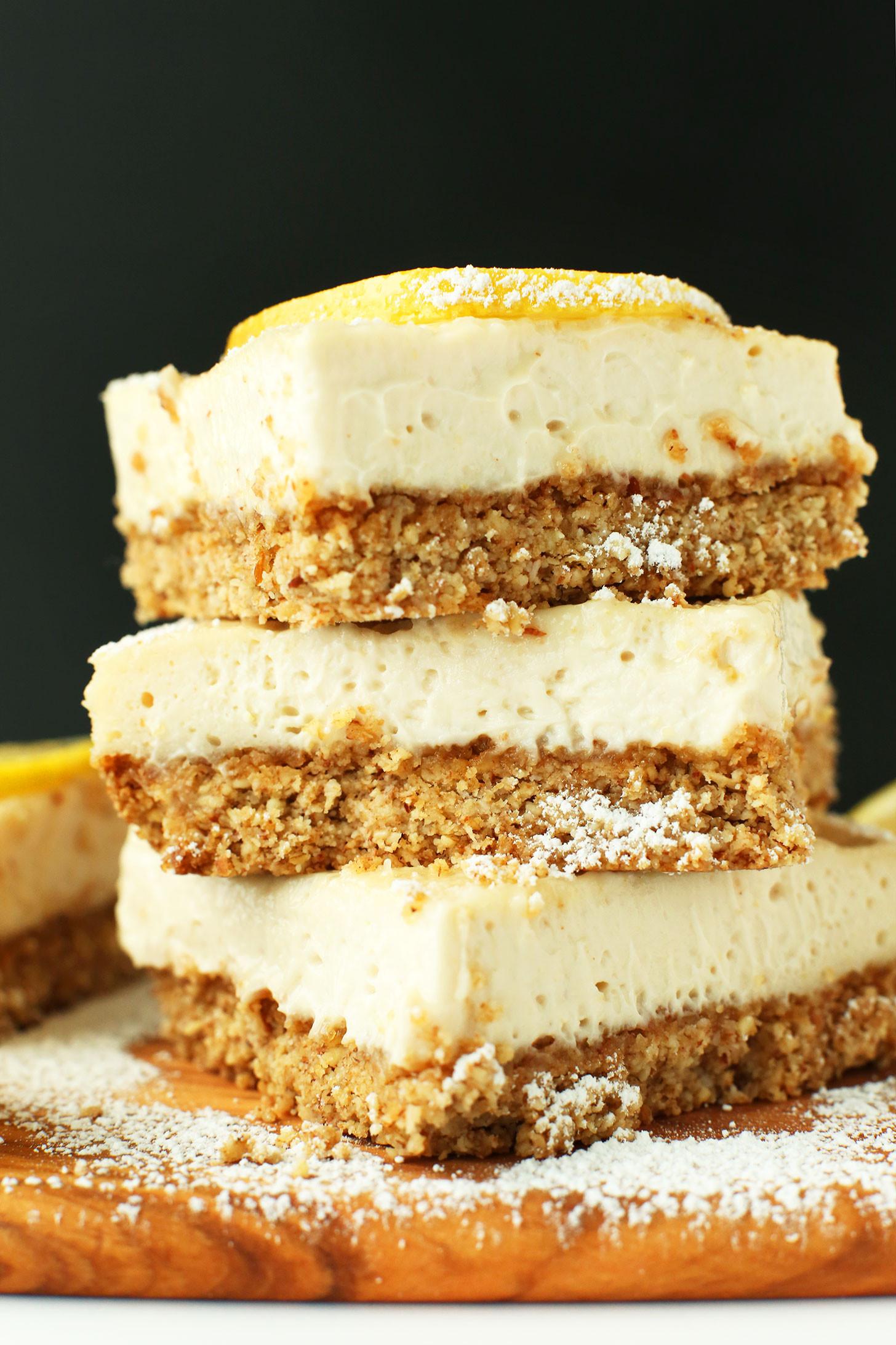 Healthy Dessert Bars  Creamy Vegan Lemon Bars GF