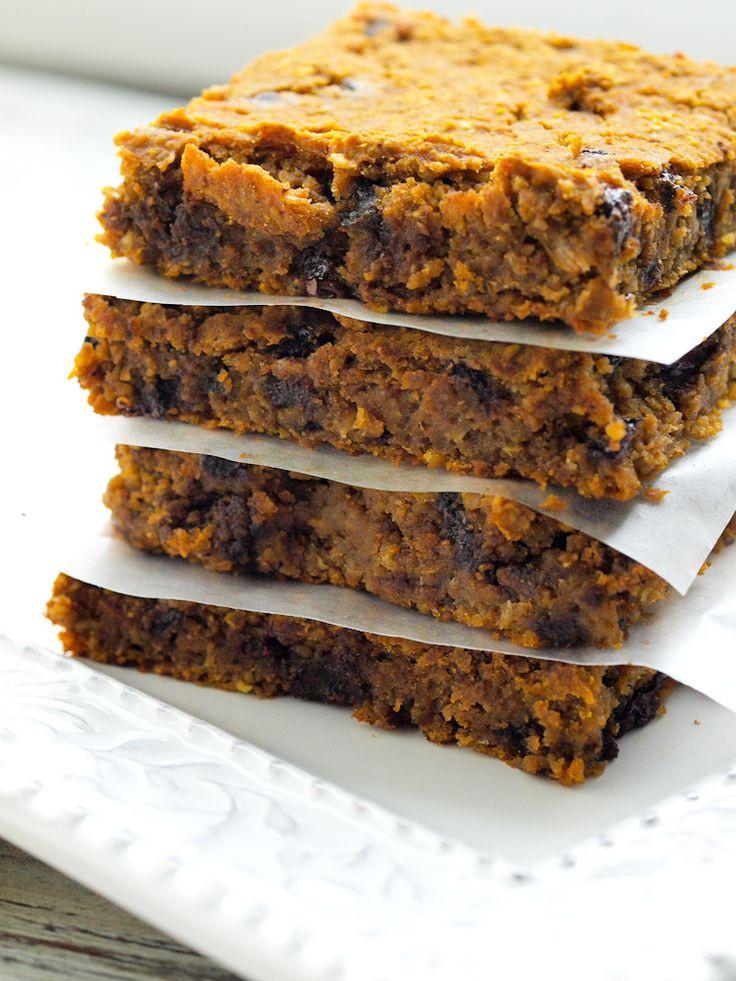 Healthy Dessert Bars  These Pumpkin Chocolate Chip Cookie Bars are gluten free