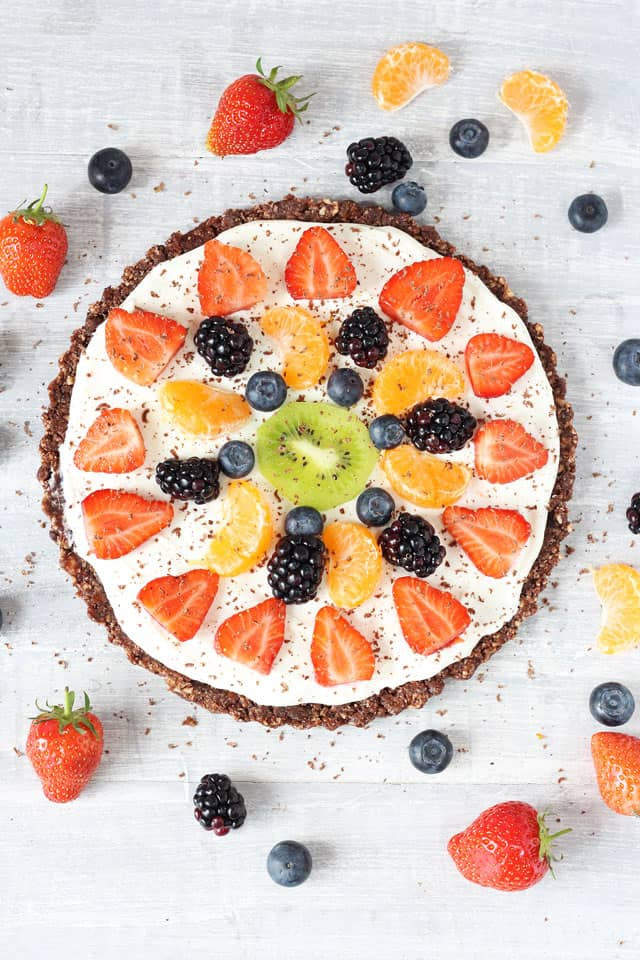 Healthy Desserts With Fruit  Healthy No Bake Chocolate Fruit Pizza My Fussy Eater
