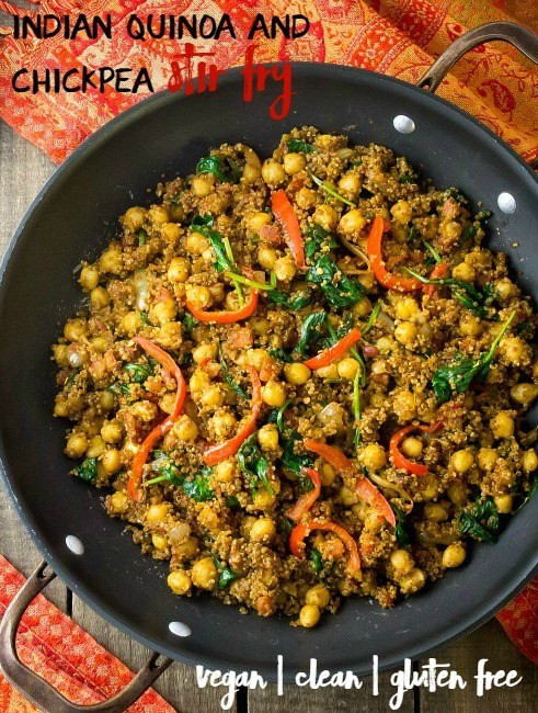 Healthy Dinner Recipes Indian Vegetarian  Indian Quinoa and Chickpea Stir Fry