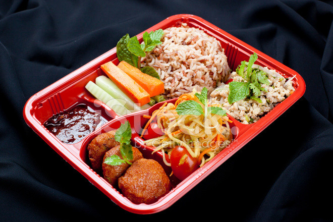 Healthy Dinner Take Out  Healthy Meal IN Take Out Bento Box stock photos