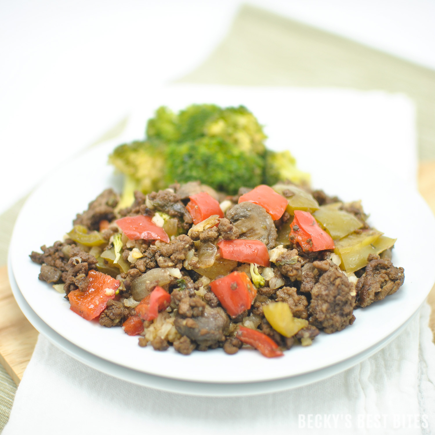 Healthy Dinner With Ground Beef  Bell Pepper Mushroom and Ground Beef Skillet Recipe Becky
