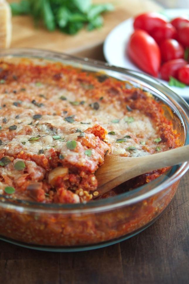 Healthy Eggplant Parmesan  The Iron You Eggplant Parmesan Quinoa Casserole