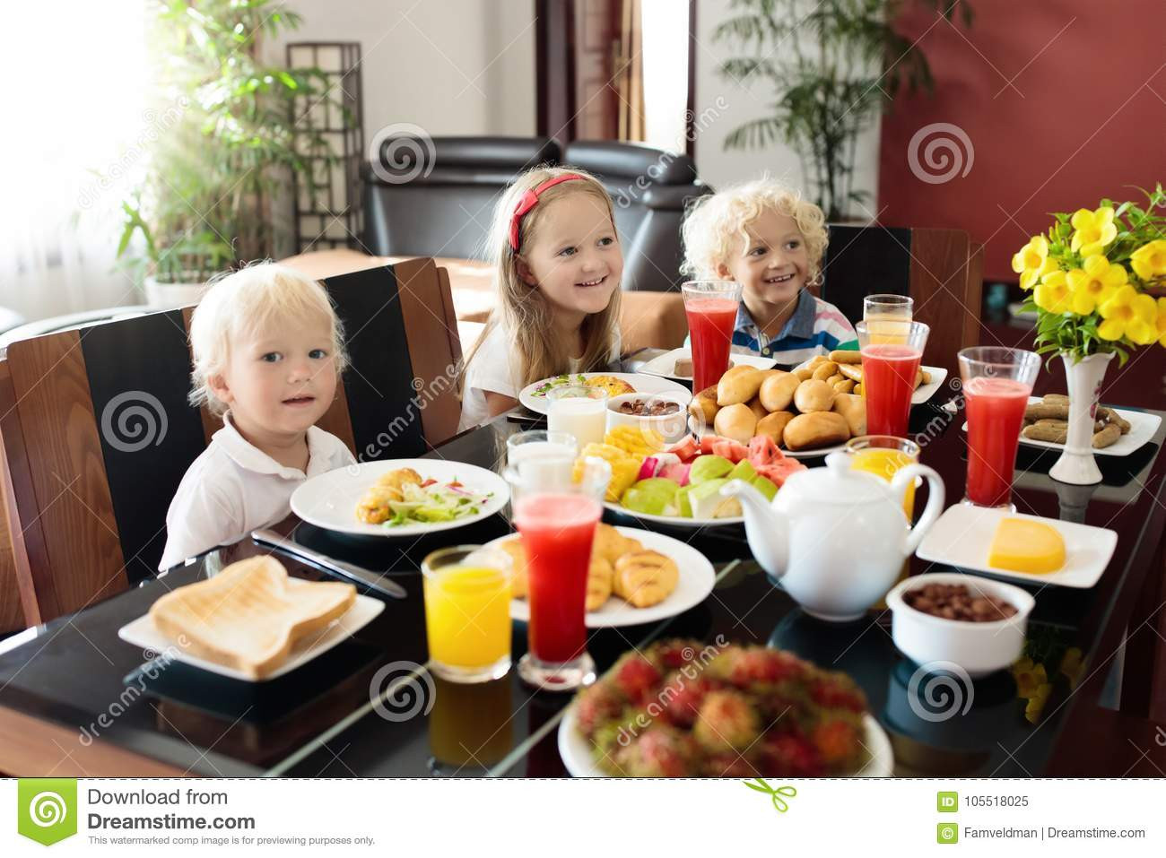 Healthy Family Breakfast  Healthy Family Breakfast For Mother And Kids Stock Image