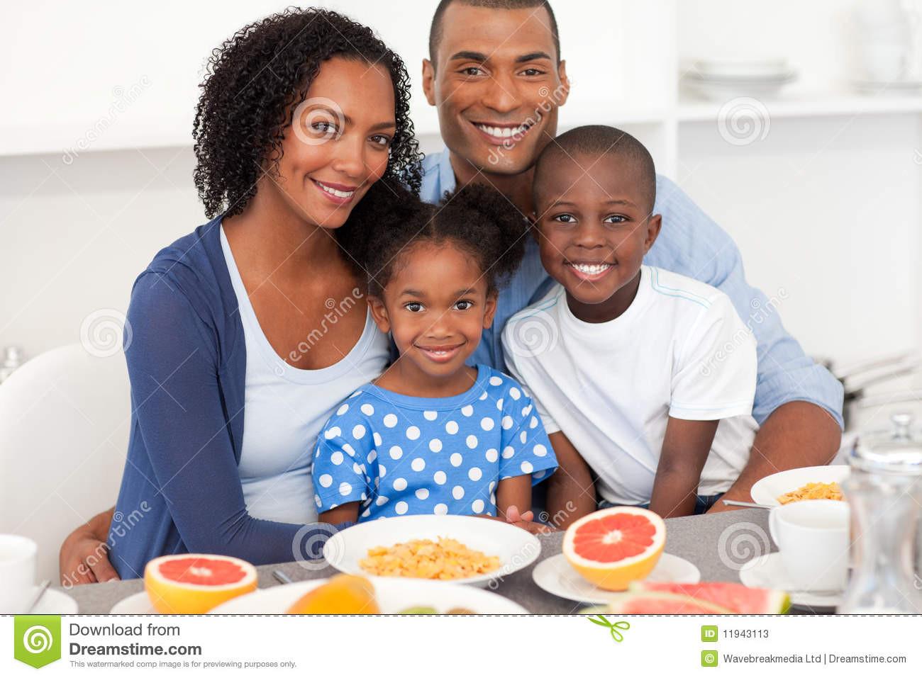 Healthy Family Breakfast  Happy Family Having Healthy Breakfast Stock s Image