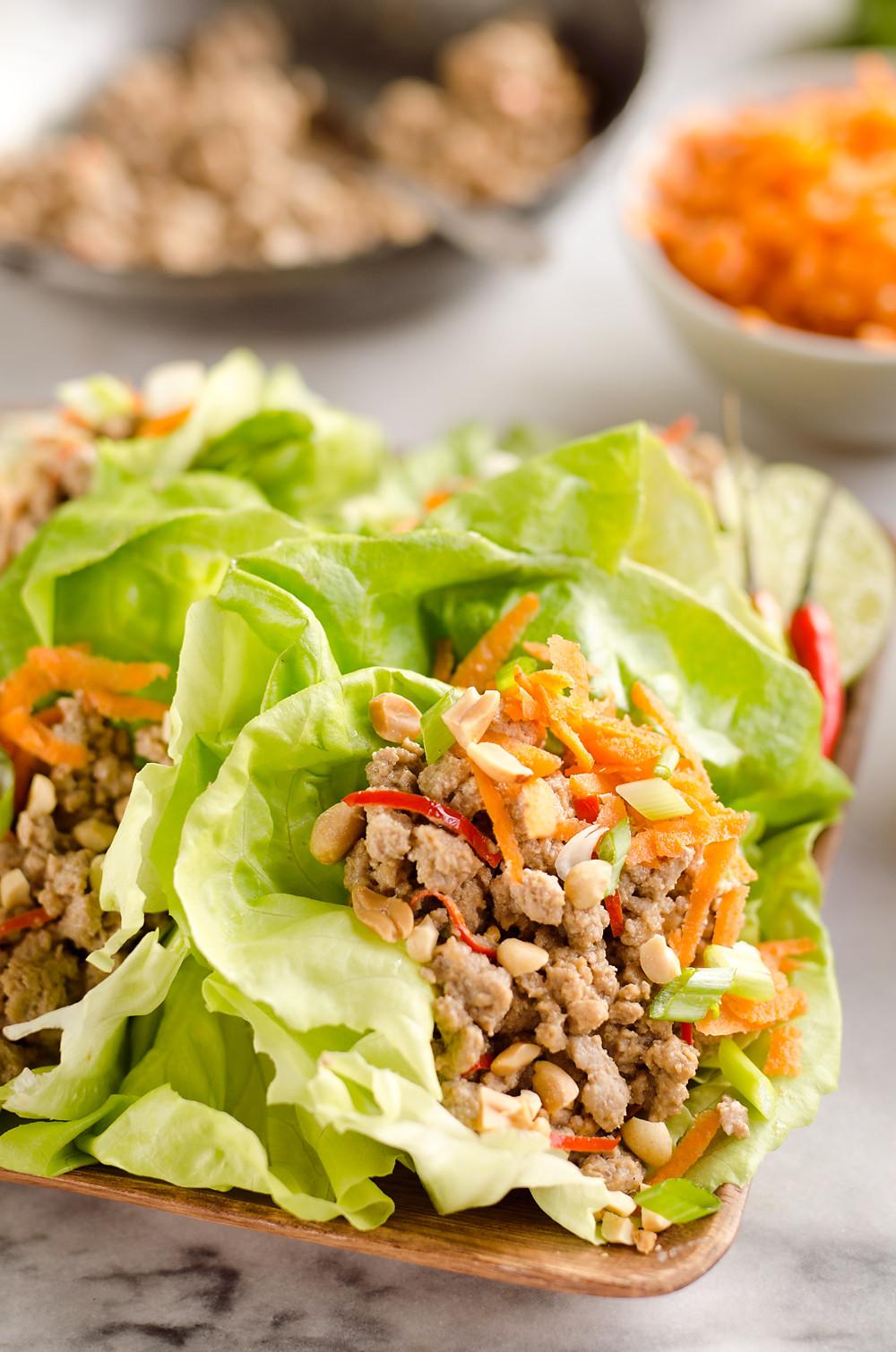 Healthy Filling Dinners  Turkey Thai Peanut Lettuce Wraps